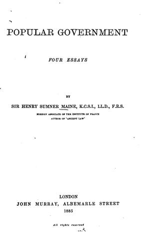 Popular government by Henry Sumner Maine