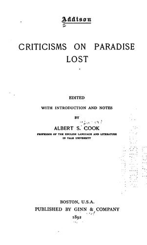 Addison. Criticisms on Paradise lost by Joseph Addison