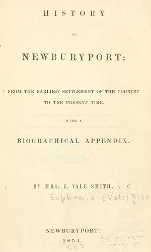 History of Newburyport by Euphemia Vale Blake
