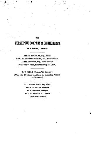 A brief history of the Worshipful company of ironmongers, London, A. D. 1351-1889 by T. C. Noble
