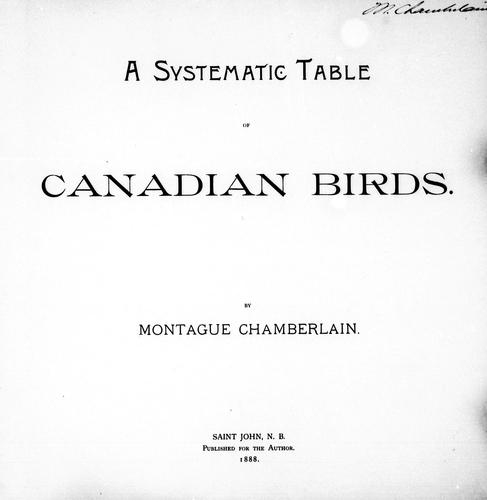 A systematic table of Canadian birds by Montague Chamberlain