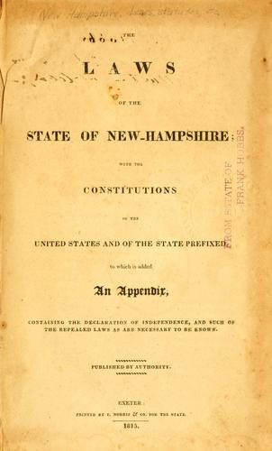 The laws of the state of New-Hampshire by New Hampshire.