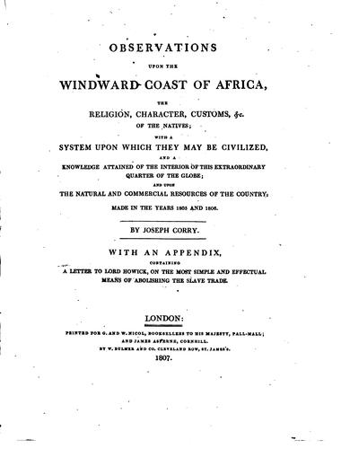 Observations upon the Windward coast of Africa