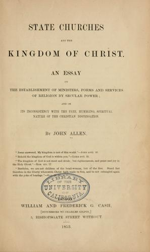 State churches and the kingdom of Christ by John Allen