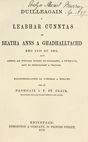 Duilleagain a leabhar cunntas ar beatha anns a Ghadhalltachd bho 1848 gu 1861
