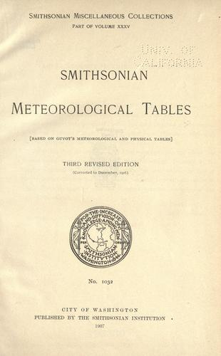 Smithsonian meteorological tables by Smithsonian Institution