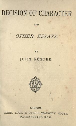 Decision of character by John Foster