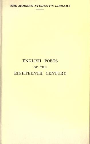 English poets of the eighteenth century.