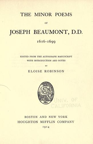 The minor poems of Joseph Beaumont by Joseph Beaumont