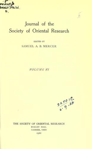 Journal by Society of Oriental Research.
