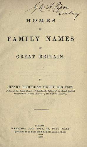 Homes of family names in Great Britain.