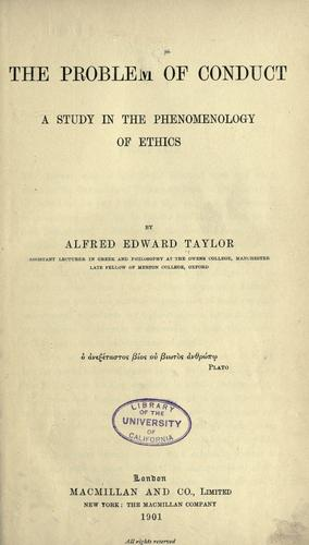 The problem of conduct by Taylor, A. E.