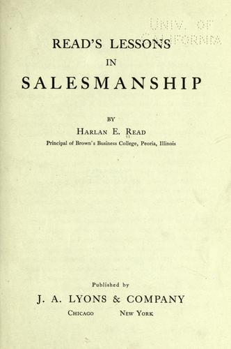 Read's lessons in salesmanship by Read, Harlan Eugene.