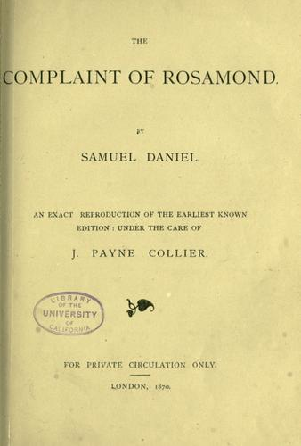 The complaint of Rosamond by Daniel, Samuel