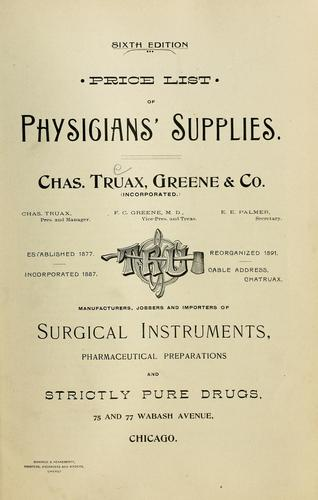 Price list of physicians' supplies by Truax, Charles, Greene & Co