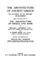 The architecture of Ancient Greece by Anderson, William J.