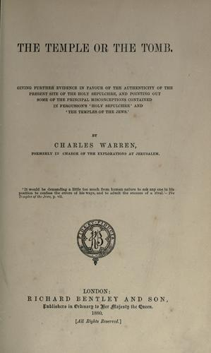 The temple or the tomb by Warren, Charles Sir