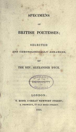 Specimens of British poetesses