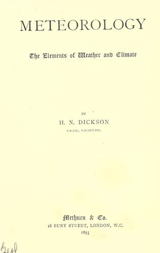 Meteorology by Henry Newton Dickson