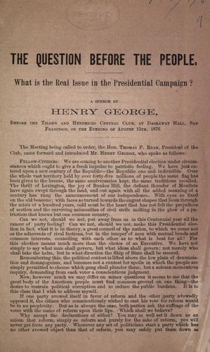 The question before the people by George, Henry