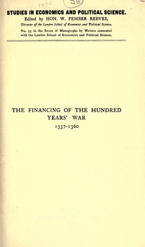 The financing of the hundred years' war, 1337-1360.