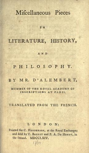 Miscellaneous pieces in literature, history, and philosophy