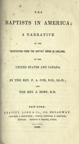 The Baptists in America by Cox, F. A.