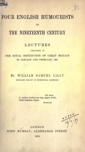 Four English humourists of the nineteenth century