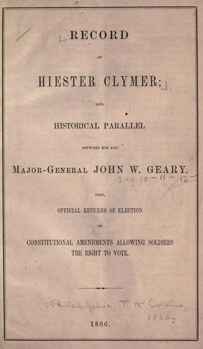 Record of Hiester Clymer by
