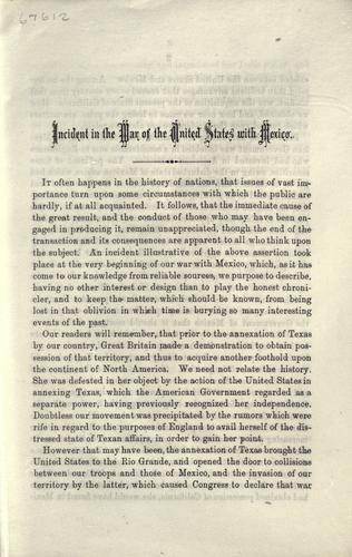 Incident in the war of the United States with Mexico by George Cumming McWhorter