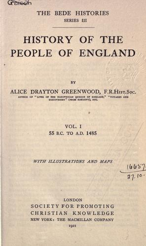 History of the people of England by Alice Drayton Greenwood