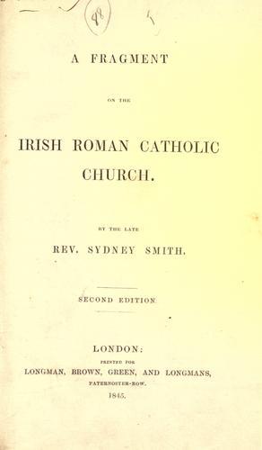 A fragment on the Irish Roman Catholic Church.