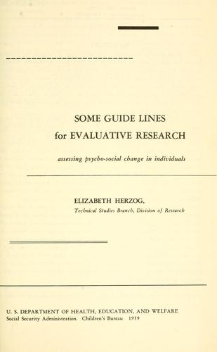 Some guide lines for evaluative research