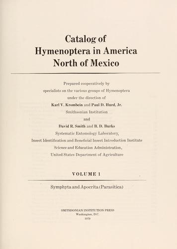 Catalog of hymenoptera in America north of Mexico by Karl V. Krombein