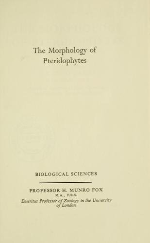 The morphology of pteridophytes by K. R. Sporne