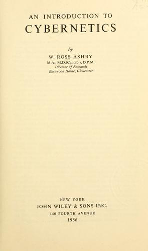 An introduction to cybernetics by William Ross Ashby
