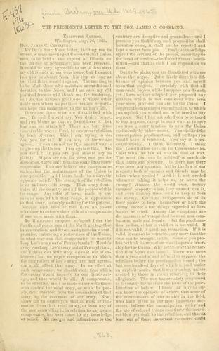The President's letter to the Hon. James C. Conkling ... Aug. 26, 1863 by Abraham Lincoln
