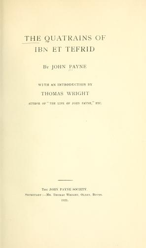 The quatrains of Ibn et Tefrid by Payne, John