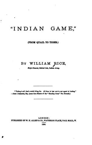 """Indian game,"" by William Rice"