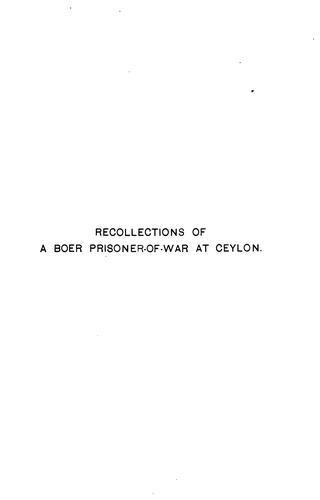 Recollections of a Boer prisoner-of-war at Ceylon by J. N. Brink
