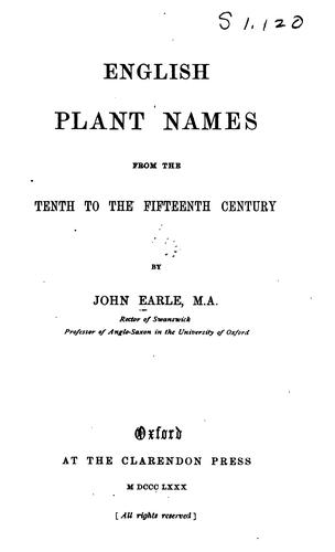 English plant names from the tenth to the fifteenth century