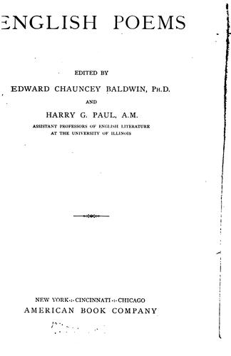 English poems by Edward Chauncey Baldwin