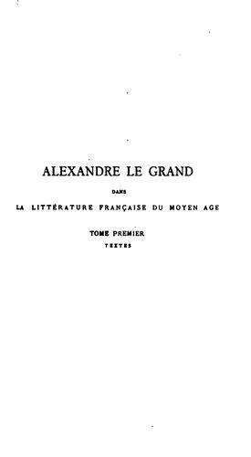 Alexandre le Grand dans la littérature française du moyen âge
