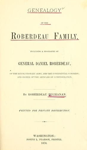 Genealogy of the Roberdeau family