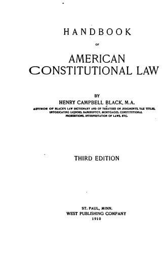 Handbook of American constitutional law