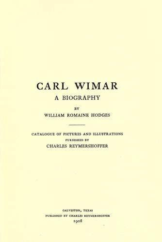 Carl Wimar by William Romaine Hodges