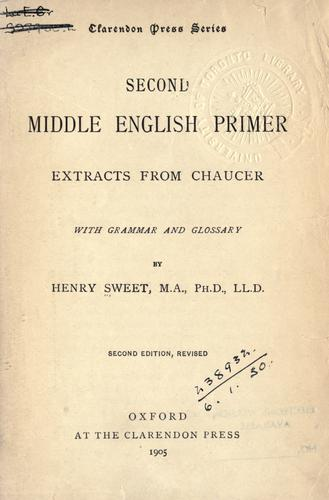 Second Middle English primer by Sweet, Henry