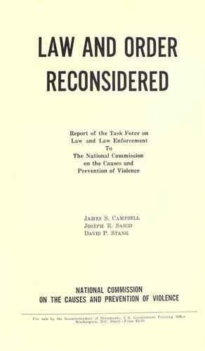 Law and order reconsidered by James Sargent Campbell