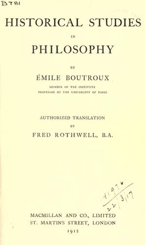 Historical studies in philosophy