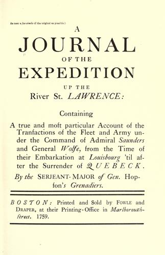 A Journal of the expedition up the River St. Lawrence by